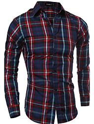 Men's Plaids Casual Shirt,Cotton Long Sleeve Brown / Red