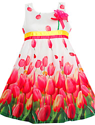 Girl's Fashion Tulip Flower Party Birthday Princess Kids Clothing Dresses