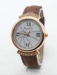 Women's  Fashion  Simplicity  Rhinestone Scriptures Quartz  Leather Lady Watch