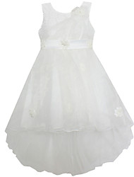 Girl's White Flower Dress Tulle Party Pageant Wedding Children Clothing Dresses
