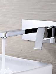 Contemporary Wall Mounted Rotatable with  Ceramic Valve Single Handle Two Holes for  Chrome , Bathroom Sink Faucet