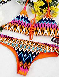 Women's Halter Bikinis , Floral / Boho Wireless / Padded Bras Polyester Orange