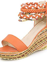 Women's Shoes Wedge Heel Wedges / Open Toe Sandals Dress / Casual Blue / White / Orange