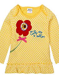 Kids T shirt Long Sleeve Polka Dot Flower Embroidery Children Girl Tees (Random Printed)