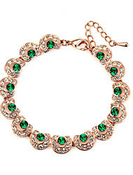 HKTC Noble Valentine's Gift 18k Gold Plated Emerald Green Crystal Party Bracelet Jewelry