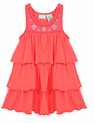 Girl's Red Dress,Floral Cotton Summer