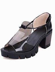 Women's Shoes  Chunky Heel Heels / Peep Toe / Fashion Boots Sandals Outdoor / Office & Career / Dress Black / White