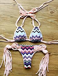 Women's Halter Bikinis , Boho Wireless / Padded Bras Nylon / Polyester Multi-color