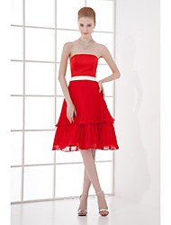 Knee-length Chiffon Bridesmaid Dress A-line Strapless with Sash / Ribbon