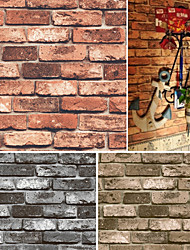 HaokHome® Vintage Faux Brick Wallpaper Red/Black/Brown Realistic Stone Wall Paper Mural Home Wall Art Decoration