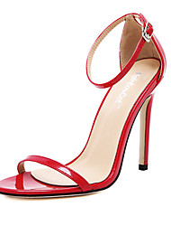 Women's Shoes Patent Leather Stiletto Heel Open Toe Sandals Party & Evening / Dress Black / Red / White / Almond
