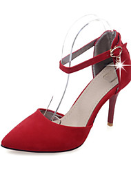 Mujer-Tacón Stiletto-Tacones / PuntiagudosOficina y Trabajo / Vestido / Casual-Semicuero-Negro / Rojo / Gris / Naranja