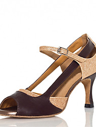Chaussures de danse(Or) -Personnalisables-Talon Personnalisé-Similicuir-Latine Samba Salsa