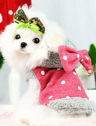 Dog Hoodie / Jumpsuit Red / Blue Winter Bowknot / Polka Dots Fashion