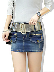 Women's Solid Blue Cotton Denim Skirt , Sexy / Bodycon / Casual Hole Fashion Slim Thin Jeans skirt (Distribution Belt)