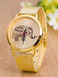 Women's Fashion Golden Mesh Belt Mesh Elephant Geneva Quartz Watch