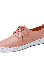 Women's Shoes Leather Flat Heel Comfort Flats Casual Black / Pink / White