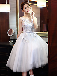 A-Line Jewel Neck Tea Length Tulle Prom Dress with Beading
