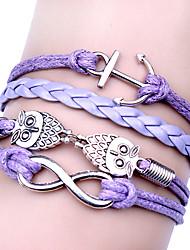 Bracelet Bracelets Wrap Alliage / Cuir Quotidien / Décontracté / Sports Bijoux Cadeau Argent / Violet,1pc