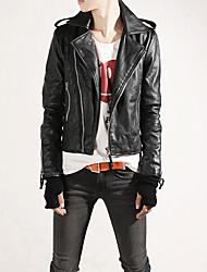 Hot Sale Men's Slim Fit Buckles Collar Leather PU Leather Jacket Coat