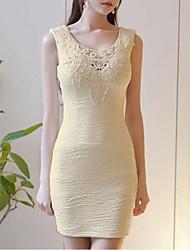 Women's Embroidery Party Vintage Bodycon Dress,Solid Round Neck Mini Sleeveless White/Black Cotton Summer