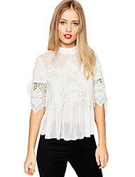 Women's Patchwork Lace Chiffon Fashion Leirsure Crew Neck ½ Length SleeveT-shirt See-through Blouses