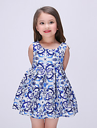 Girl's Blue Dress , Floral / Dresswear Polyester Summer