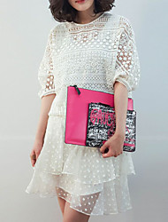 Women's Casual / Day / Holiday Polka Dot / Patchwork Lace / Two Piece Dress , Round Neck Above Knee Others