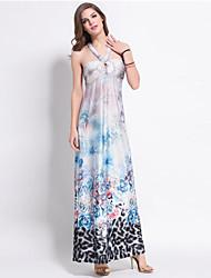 Women's Boho Print Shift Dress , Halter Maxi Polyester