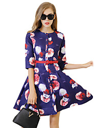 Women's Vintage / Party / Cocktail Floral A Line Dress , Round Neck Above Knee Polyester