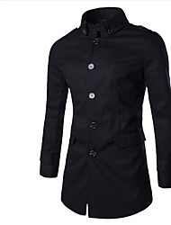 Men's Long Sleeve Regular Trench coat , Cotton Pure