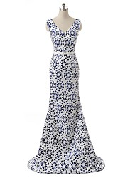 Formal Evening Dress - Vintage Inspired A-line V-neck Sweep / Brush Train Satin with Pattern / Print Sequins