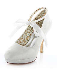 Women's Spring Summer Fall Stretch Satin Wedding Dress Party & Evening Stiletto Heel Blue Purple Ivory Silver