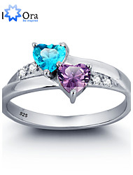 Noble Fashion Zircon 925 Sterling Silver Double Heart Ring For Woman&Lady