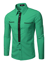 Shirts Tuxedo (Wing Collar) Long Sleeve Cotton Solid Gray / Green / White / Dark Red