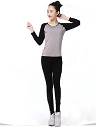 Women Sexy Fashion Sports Casual Running Suit Yoga Sets Gym Suits (Suits =Long Sleeve Top + Trousers)