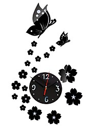 New Creative Mirror Wall Clock Fashion Horloge Murale DIY Wall Sticker Beautiful Butterflies Wall Watch