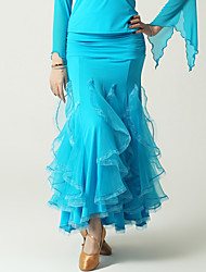 High-quality Viscose with Ruffles Ballroom Dance Dresses for Women's Performance (More Colors)