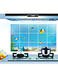 Removable Kitchen Oilproof Wall Stickers with Underwater World Style Water Resistant Home Art Decals