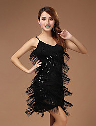 Performance Dresses Women's Performance Polyester Paillettes / Tassel(s) 1 Piece Black / Red / White And Silver / Yellow