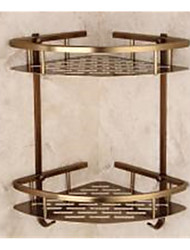 Antique Bronze Bathroom Shelf , Neoclassical Brushed Wall Mounted