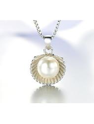 Korea 925 Sterling Silver Pearl Scallop Shell Pendant