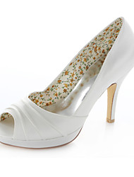 Women's Spring Summer Stretch Satin Wedding Party & Evening Dress Stiletto Heel Ivory