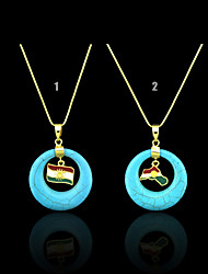 18K Real Golden Plated  Kurdistan National Flag Turquoise Pendant For Women & Men, Country Map Jewelry