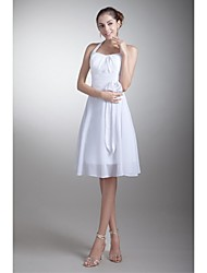 Lanting Knee-length Chiffon Bridesmaid Dress - White A-line Halter