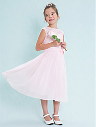 Lanting Bride Tea-length Chiffon / Lace Junior Bridesmaid Dress A-line Scoop with Flower(s) / Lace