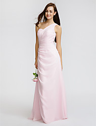 Lanting Bride® Floor-length Chiffon Bridesmaid Dress - Sheath / Column One Shoulder with Beading / Side Draping