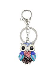 Fashion Cute Mixed Color Rhinestone Set Metal Owl Keyring/Handbag Accessory