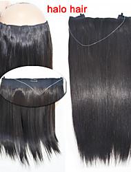 venta caliente directamente el pelo humano 100g / bolsa del tirón de la extensión del pelo # 1b de halo negro pelo extensiones de 16 '' -