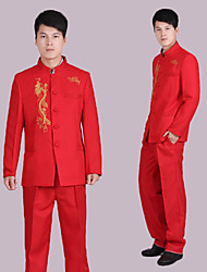 Suits Tailored Fit Mandarin Collar Single Breasted More-Button Polyester Patterns 2 Pieces Red